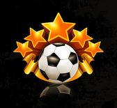Orange sports emblem, football — Stock Vector