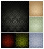 无缝壁纸模式,六种颜色的设置 — 图库矢量图片