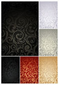 Seamless Wallpaper Pattern, set of six colors — Stock Vector