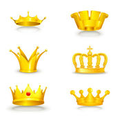 Crown set on white — Stock Vector