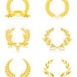 Golden wreath set, eps10 — Stock Vector