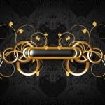 Luxury frame black on gold — Stock Vector