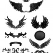 Design elements with wings, high quality 10eps - Stok Vektör