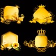 Royalty-Free Stock Vector Image: Golden Frame on black, set