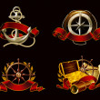 Marine Emblem set on black, 10eps - Stok Vektör