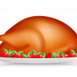 Roasted Turkey, vector — Stock Vector
