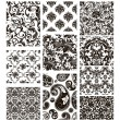Stock vektor: Set of ten patterns, black silhouettes