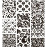 conjunto de silhuetas de dez padrões, preto — Vetorial Stock