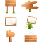 Wooden signs set — Stock Vector