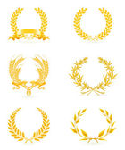 Golden wreath set, eps10 — Stock Vector