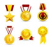 Gold medal, set 10eps — Stock Vector
