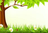 Green Tree Frame, 10eps — Stock Vector