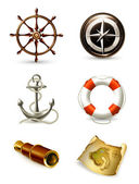 Marine set, high quality icons 10eps — Stok Vektör