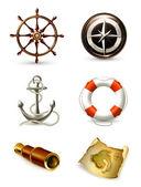 Morskich zestaw wysokiej jakości ikon 10eps — Wektor stockowy