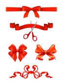 Bows and ribbons, vector set — Stock Vector