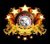 轮盘赌徽章上黑色,10eps — 图库矢量图片