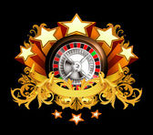 Roulette insignia on black, 10eps — Stockvector