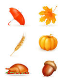 Herfst, pictogrammenset — Stockvector