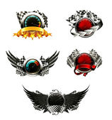 Set di emblemi di corse — Vettoriale Stock