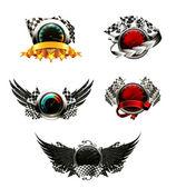 Uppsättning racing emblem — Stockvektor
