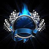 Emblema azul corridas — Vetorial Stock