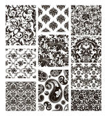 Set of ten patterns, black silhouettes — Stock Vector