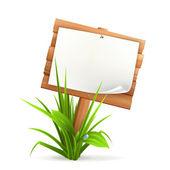 Cartel de madera en pasto — Vector de stock
