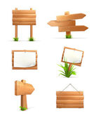 Conjunto de signos de madera — Vector de stock