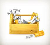 Caja de herramientas de madera — Vector de stock