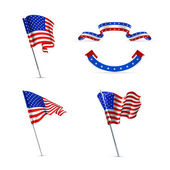 American flags, set — Stock Vector