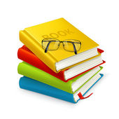Books and glasses — Vector de stock