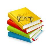 Libros y gafas — Vector de stock