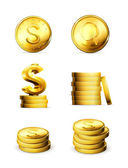 Gold Coins, set — Stock Vector