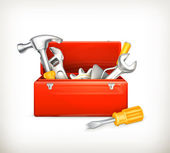 Caja de herramientas roja, 10eps — Vector de stock