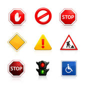 Set of road signs — Vector de stock