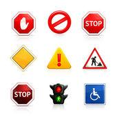 Set van verkeersborden — Stockvector