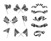 Checkered flags, set — Vettoriale Stock