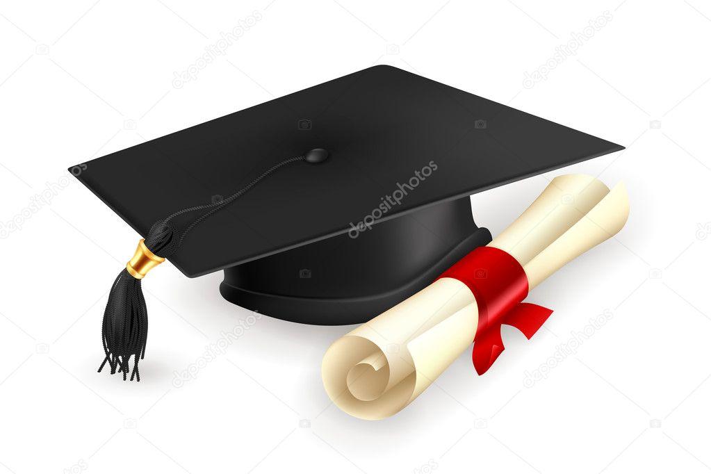 Gorro de graduación y diploma, vector \u2014 Vector de stock 12824519