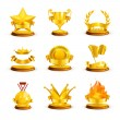 Stock Vector: Gold awards, vector set