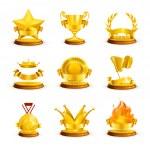 Gold awards, vector set — Stock Vector