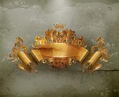 Vintage Emblem Gold Ribbon, old-style vector — Stock Vector