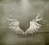 Witte vleugels, oude-stijl vector — Stockvector