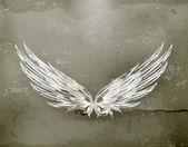 Křídla bílá starobylé vektor — Stock vektor