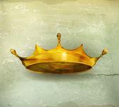 Elemento di design corona d'oro, vecchio stile vettoriale — Vettoriale Stock