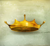Golden crown tasarım öğesi, eski stil vektör — Stok Vektör