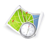 Road Map and compass — Stock Vector