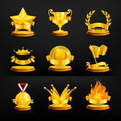 Gold awards, vector set on black — 图库矢量图片