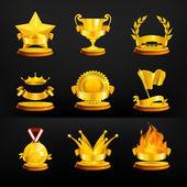 Médailles d'or, vecteur défini sur fond noir — Vecteur