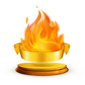 Golden flame, vector — Stock Vector