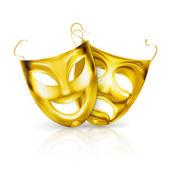 Gold theater masken, vektor — Stockvektor